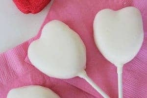 Easy Valentines Day treats white chocolate covered peep hearts