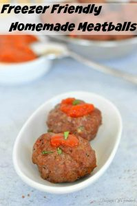 Freezer Friendly Homemade Meatballs with a touch of sauce on them