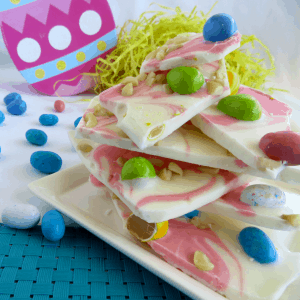 Themed white chocolate macadamia Easter Treat candy bark