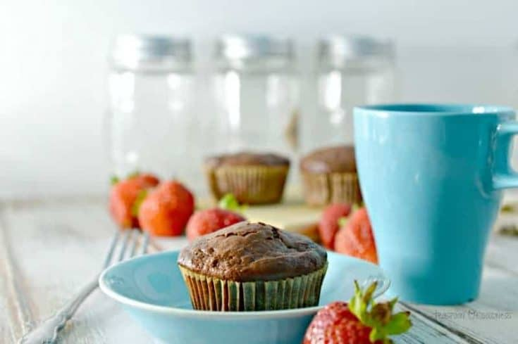 Double Chocolate Strawberry Muffins