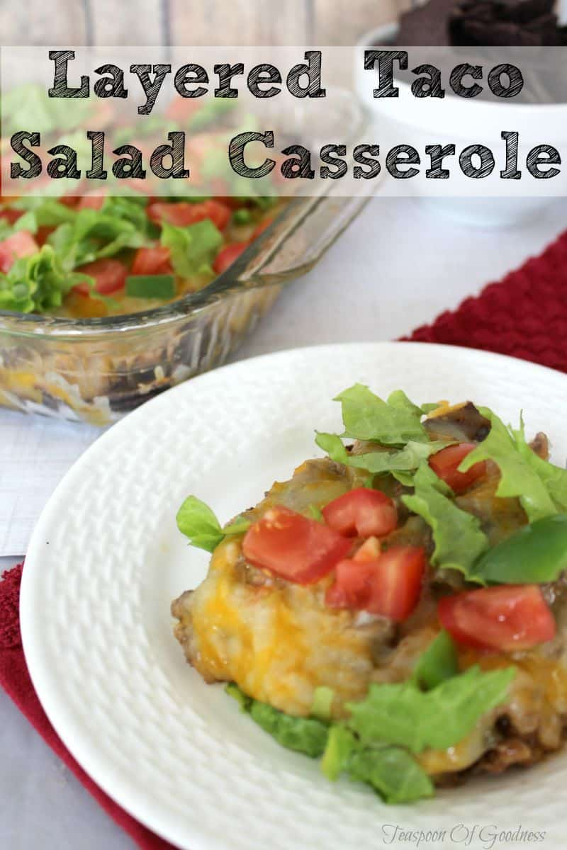 My family of boys enjoys this easy to make Layered Taco Salad Casserole with basic ingredients I always have on hand, It's nothing fancy but it switches things up on taco night!