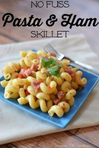 Quick Pasta & Ham Skillet that can be finished in 20 minutes. Perfect filling dinner for busy nights!