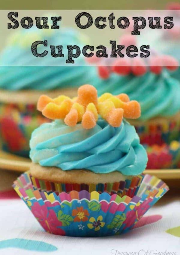 Sour Octopus cupcakes make the perfect fun treat for kids. These are perfect cupcakes for kids are always a hit with their bright colors and slightly sour additions.