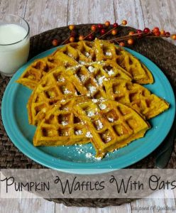 Bring the family together for breakfast with these Pumpkin Waffles With Oats. Not only are these a great Sunday morning breakfast but a school lunch meal as well! - Teaspoon of Goodness