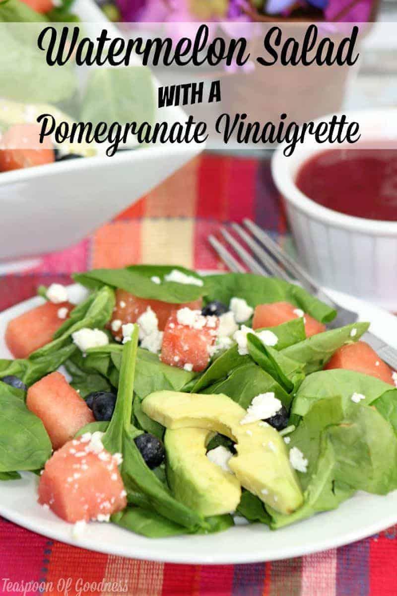 Watermelon Salad With A Pomegranate Vinaigrette