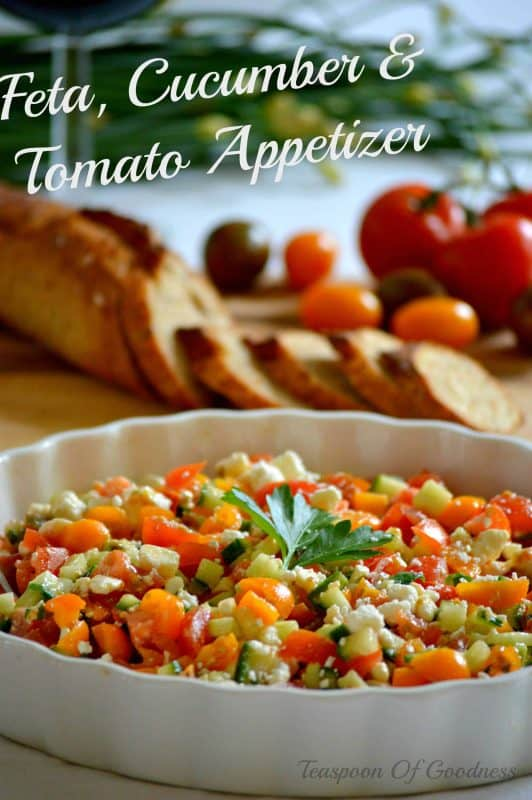 This delicious Feta, Cucumber & Tomato Appetizer is a great option if you want a simple yet delicious appetizer or dip that uses extra produce from your garden. - Teaspoon Of Goodness