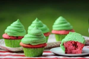 This Watermelon Cupcakes Recipe is sure to be a hit at your next barbecue or potluck event. There is nothing as classic in summer as fresh watermelon, unless of course it is a great watermelon cupcake that looks and tastes delicious. - Teaspoon Of Goodness
