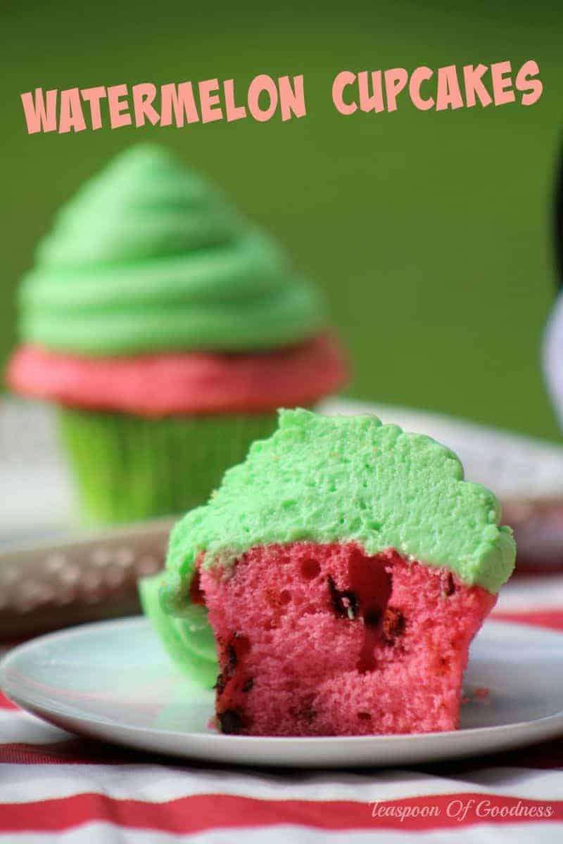 Watermelon Cupcakes Recipe | Teaspoon of Goodness