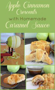 Apple Cinnamon Crescent Rolls with Homemade Caramel Sauce