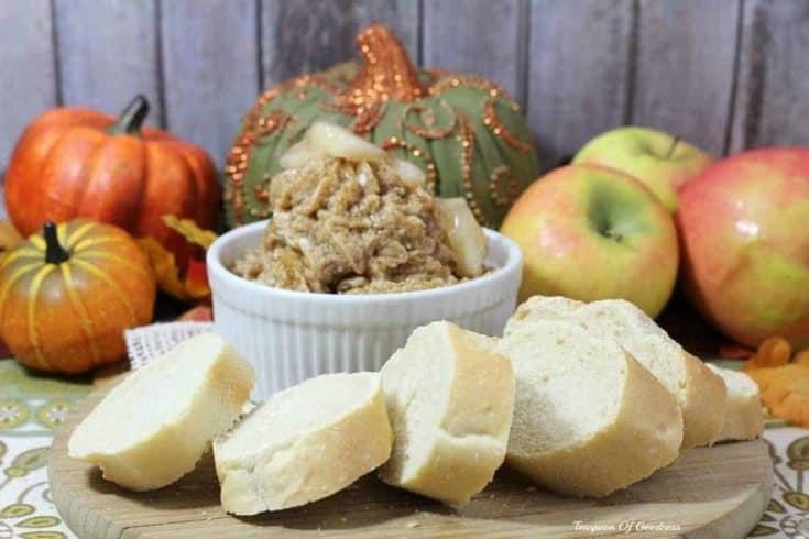 One of my favorite things about fall is this delicious Caramel Apple Butter Recipe spread over a nice piece of whole grain toast. - Teaspoon Of Goodness