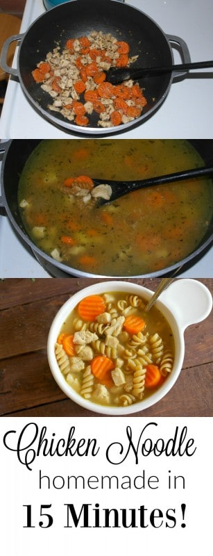 This Easy Chicken Noodle Soup is ready from start to finish in 15 minutes using precooked chicken and frozen veggies. - Teaspoon Of Goodness