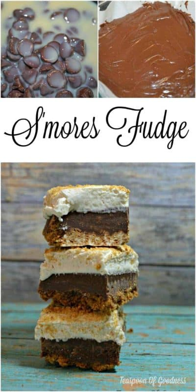 The delicious combination of chocolate, Graham crackers and marshmallow makes this S'mores Fudge a new recipe to include in your candy making this year! - Teaspoon Of Goodness