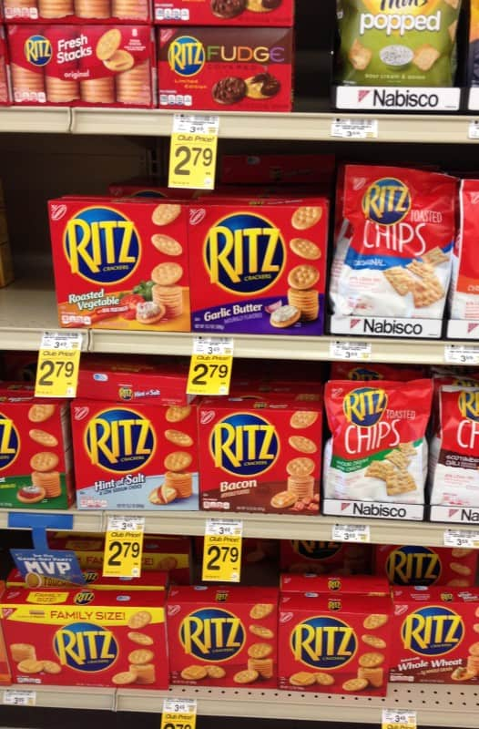 Ritz crackers on a shelf at Safeway.