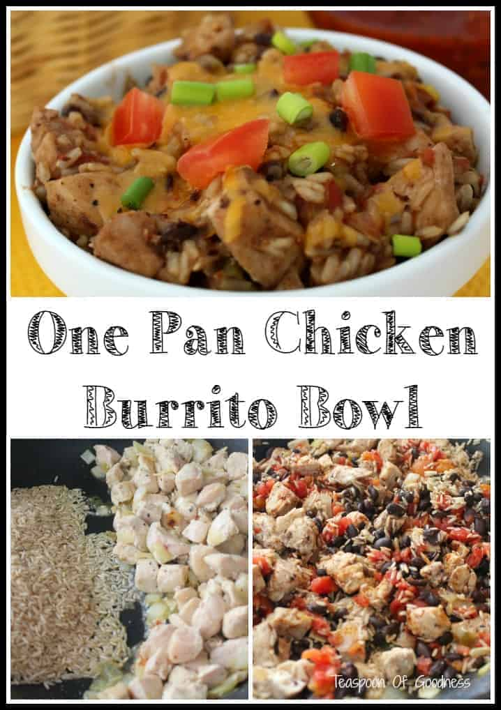 I love easy one pot meals, and this One Pan Chicken Burrito Bowl recipe is a new favorite for our family. I can have everything I love in my favorite burrito bowl, cooked all in one pot so there is little cleanup. - Teaspoon Of Goodness