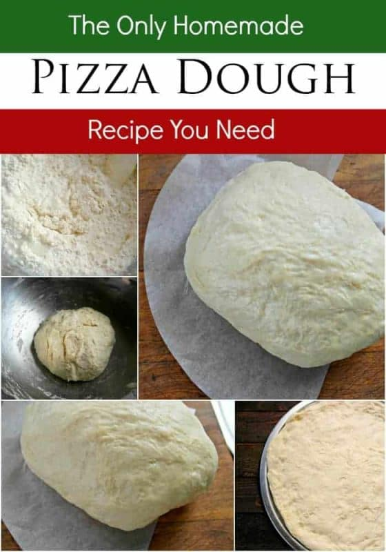 A collage of a basic homemade pizza dough recipe from start to finish.