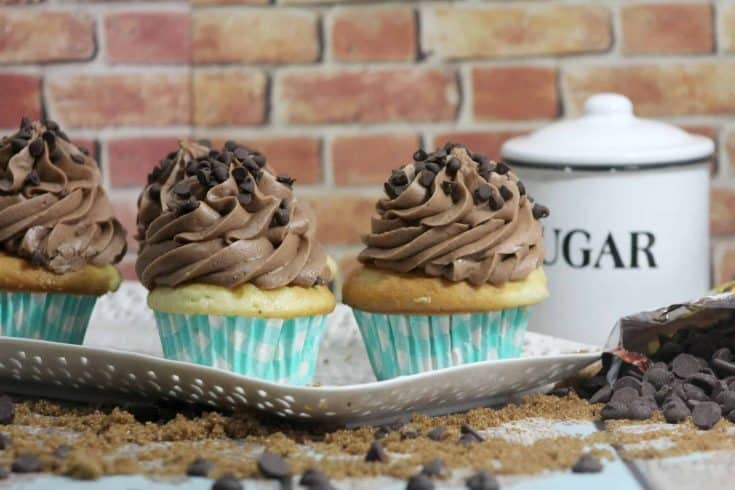 A little moist cake, with sweetened cookie dough and of course the delicious chocolate chips make these chocolate chip cookie dough cupcakes a favorite dessert option for many. - Teaspoon Of Gooness