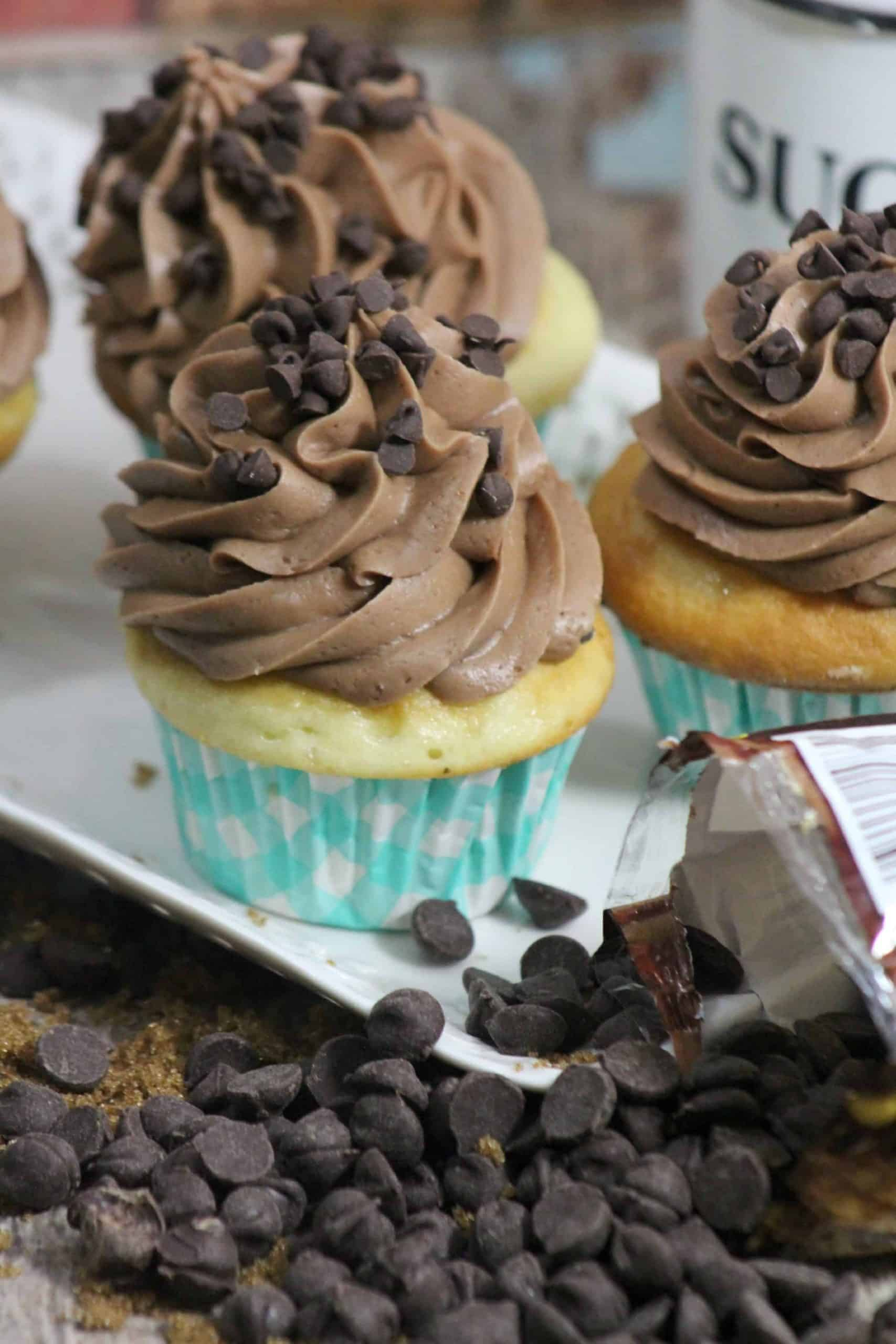 Chocolate Chip Cookie Dough Cupcakes - Chelsweets