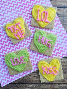 Conversation hearts made out of graham crackers and icing