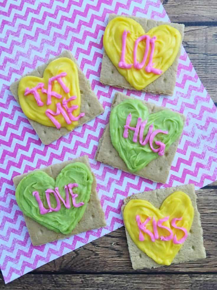 Conversation Hearts Valentine's Day Graham Crackers