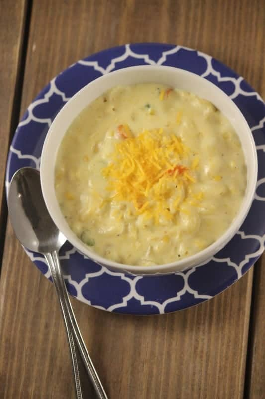 This easy Macaroni And Cheese Soup is a perfect choice for any family that loves a classic macaroni and cheese dish. Cheesy, full of pasta and flavor this is a great choice that is also an excellent way to get some vegetables in your kids diets with little fuss! - Teaspoon Of Goodness