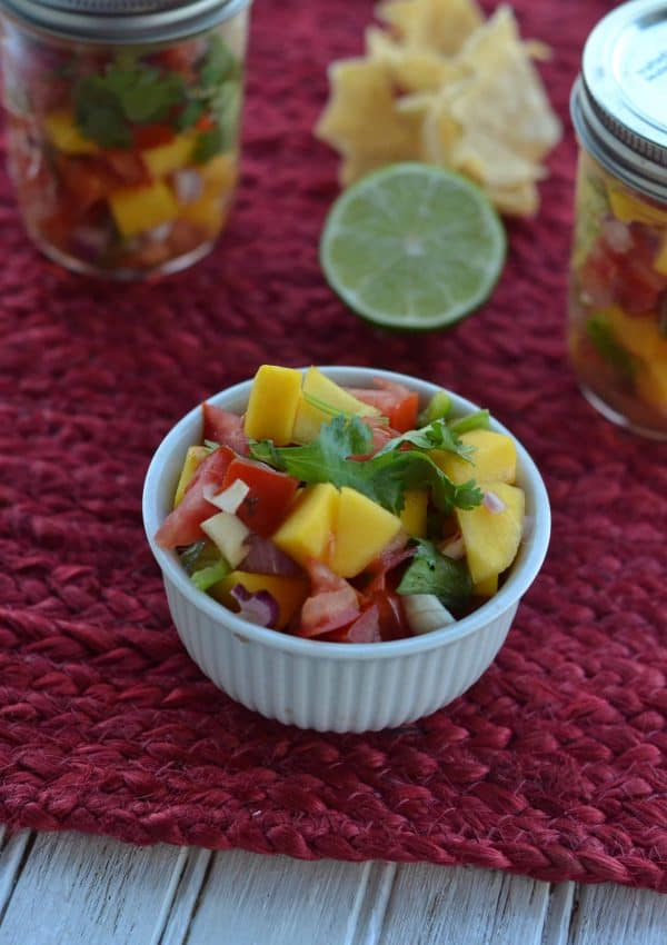 This homemade mango salsa is a simple, delicious, and perfect choice for topping almost any chicken or fish dish.