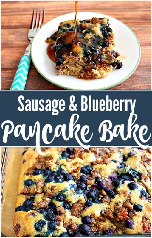 We love a great breakfast bake for weekends, and this Blueberry Sausage Pancake Breakfast Bake has everything you dream of in one delicious dish.  - Teaspoon Of Goodness