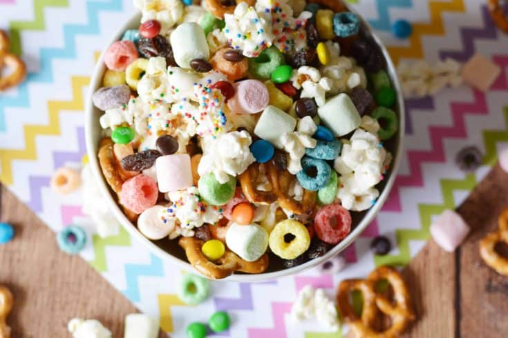 We love a great flavored popcorn, and creating a fun kid-friendly Rainbow Flavored Popcorn Party Mix is a great addition to our summer sleepovers, birthday parties, and even weekend barbecues. - Teaspoon of Goodness