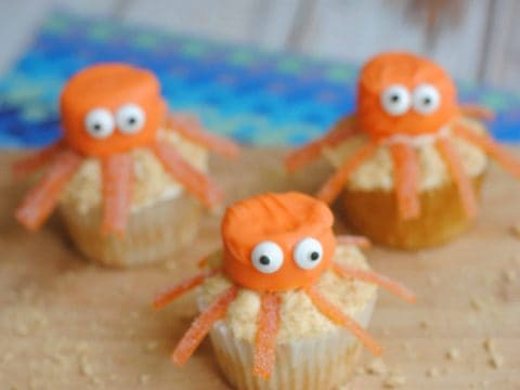 Our classic base cupcakes recipe is my favorite since it is so light, easy, and moist. The big part of this unique cupcake is the Octopus design. A few orange candy melts, some frosting, and of course, a marshmallow and candy for accents and you have a super easy and fun cupcake the kids will absolutely love. - Teaspoon Of Goodness