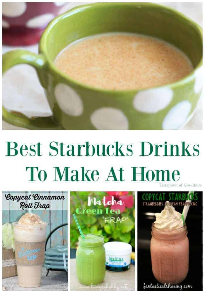 When I think about the best Starbucks drinks recipes, I often wish I could afford to have them every single day. The thing is, with this great list of copycat recipes you can make at home, I can! - Teaspoon of Goodness