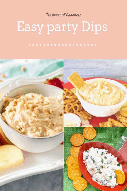 A collage with toffee dip, peanut butter dip and a crab dip as the photos.