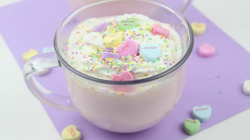 This Conversation Hearts Hot Chocolate Recipe is a great idea for a fun special Valentine's Day drink! - Teaspoon of Goodness