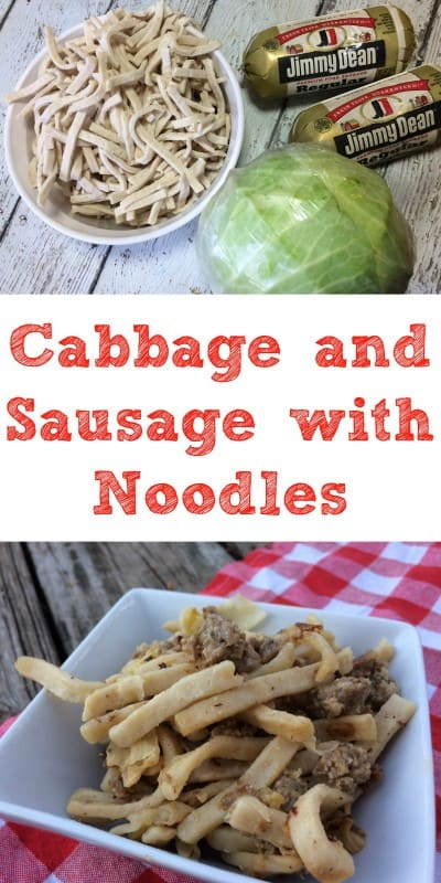Cabbage and Sausage with Noodles is a great easy to throw together meal that is ideal for those nights when you don't feel like cooking but want something comforting. - Teaspoon of Goodness