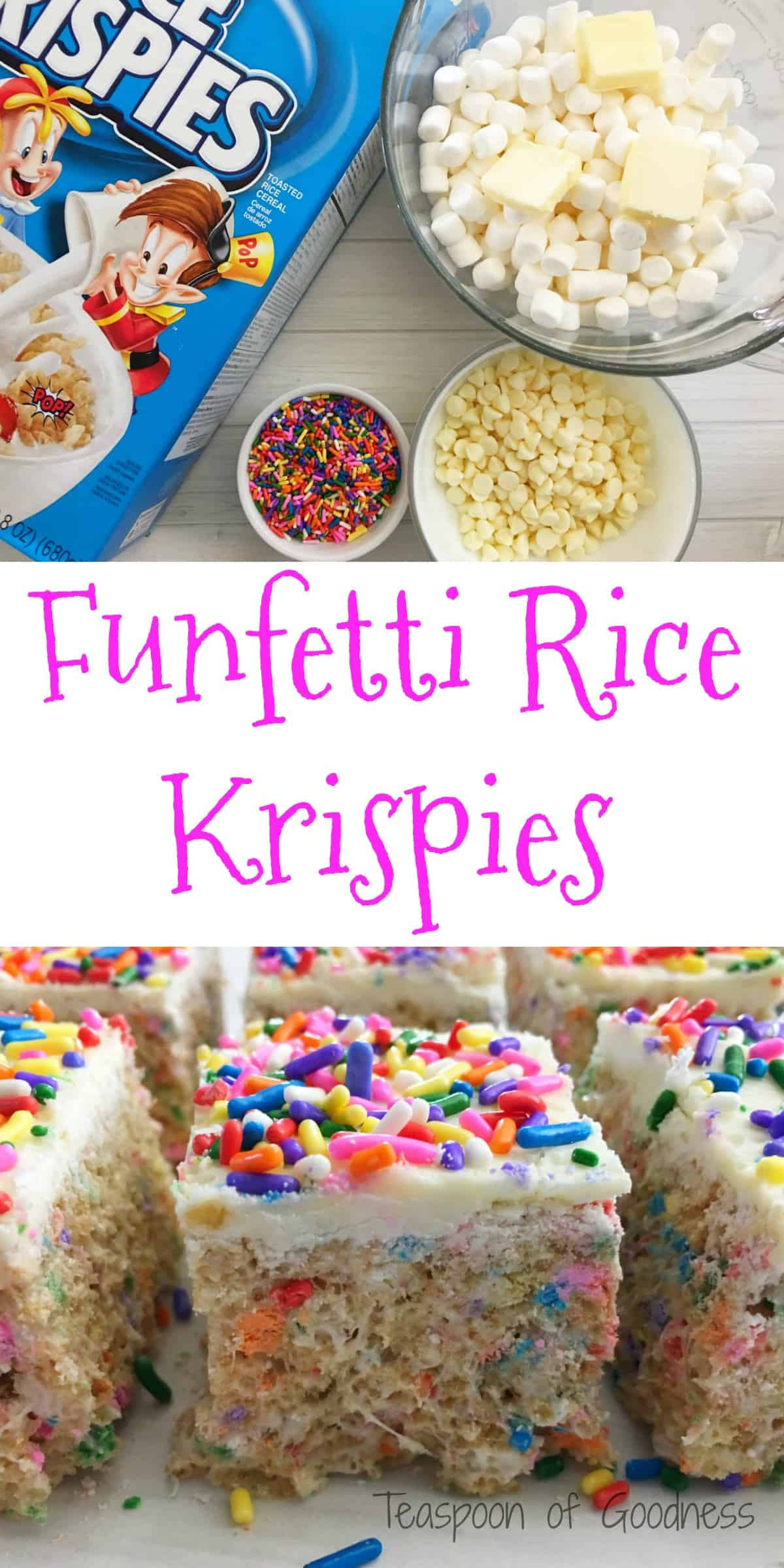Funfetti homemade rice krispie treats teaspoon of goodness everyone loves a good homemade rice krispie treats snack and these funfetti rice krispie treats ccuart Gallery