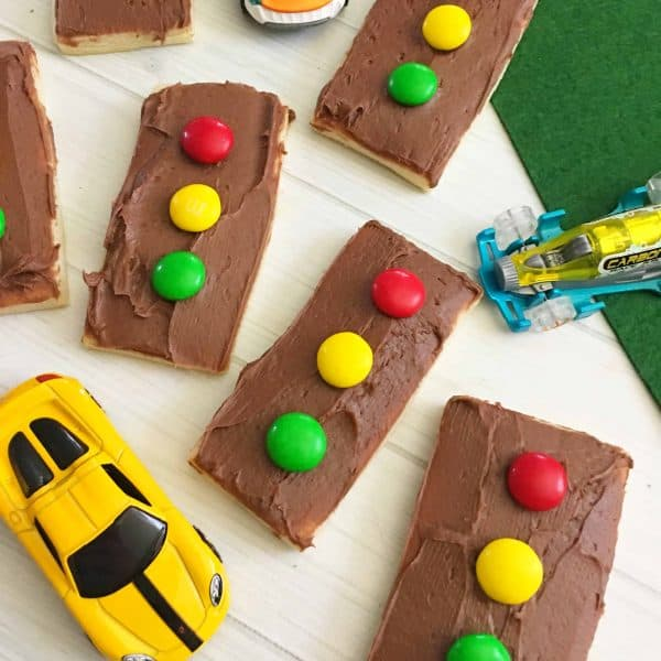 Stoplight Iced Chocolate Shortbread Cookies
