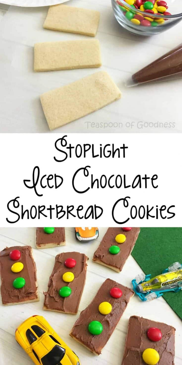 Want your kids to learn while having their snack? Look no further than this Stoplight Iced Chocolate Shortbread Cookies recipe! - Teaspoon of Goodnes
