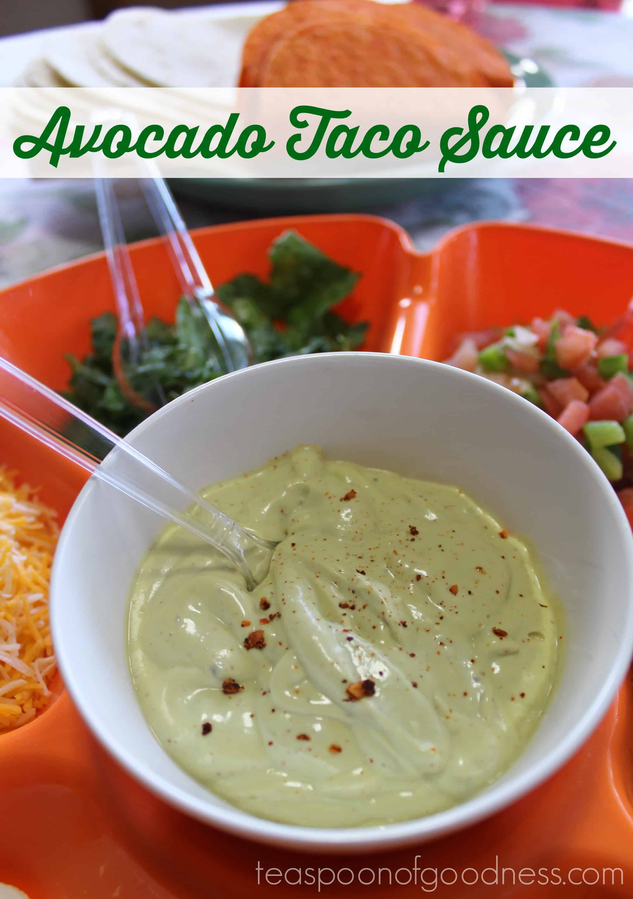 Take Taco Tuesday to the next level with this 5 ingredient Avocado Taco Sauce. Talk about a quick to make sauce that will have everyone talking!
