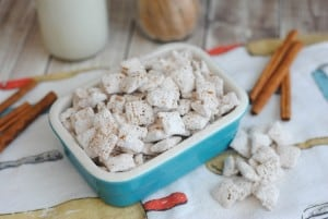 I love snack mixes for the kids and puppy chows or muddy buddies are no different. I was 8 when I made my first batch of puppy chow and really loved telling people I was feeding them a food made for puppies. My Snickerdoodle Puppy Chow Recipe is so much fun to make! - Teaspoon of Goodness