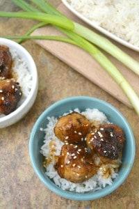 Teriyaki Honey Chicken Meatballs with green onions
