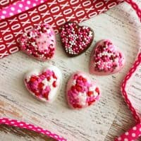 homemade chocolate candy hearts with sprinkles