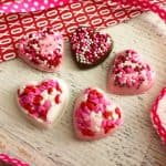 homemade chocolate candy hearts with sprinkles for Valentine's Day