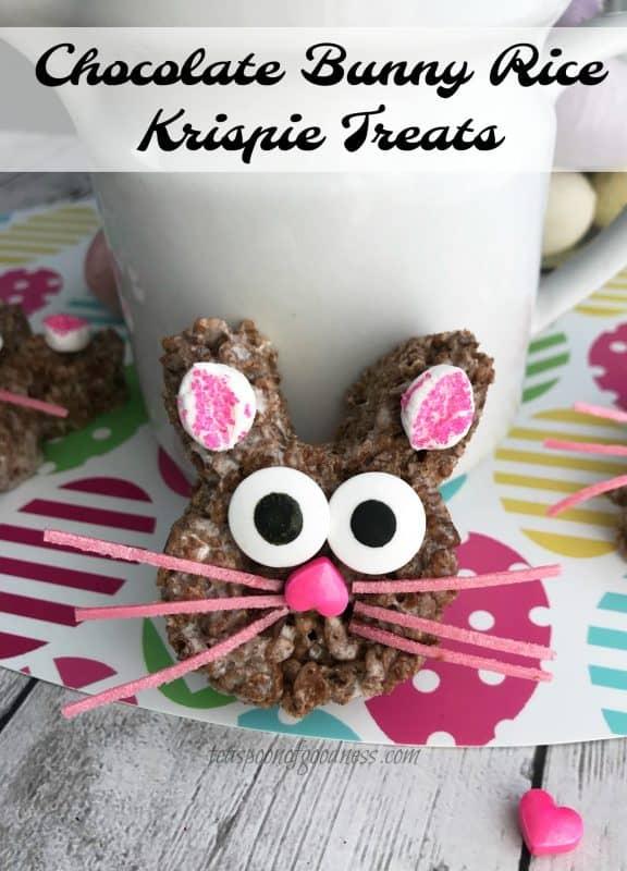 Cocoa Krispie Treats shaped as Easter bunny treats