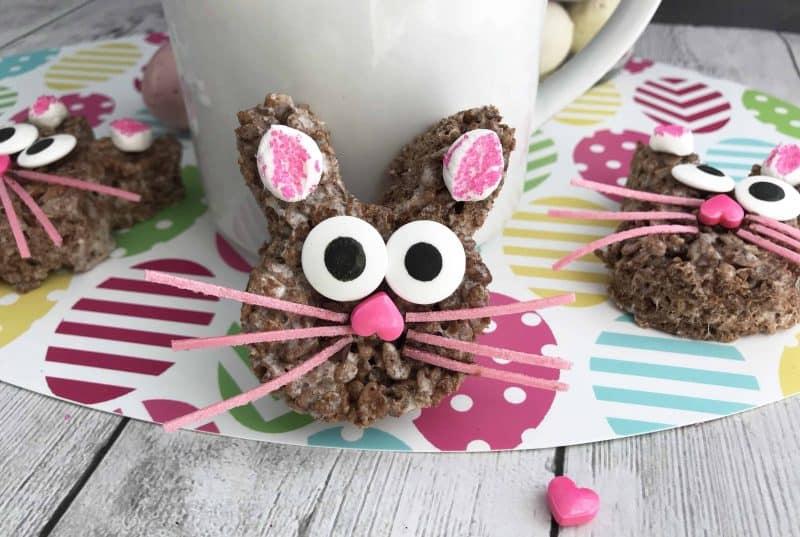 Cocoa Krispy Treats shaped as Easter bunny treats