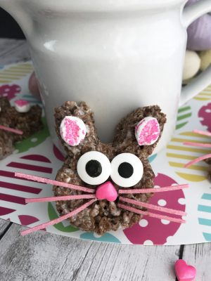Cocoa Krispie Treats shaped as Easter bunny treats