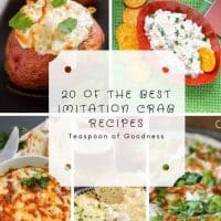 Pinterest image with 5 crab recipes made with imitation crab
