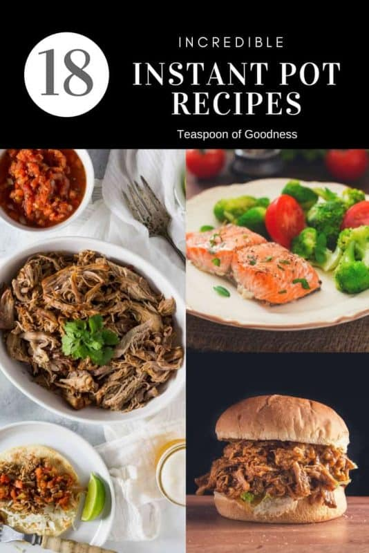 A collage of 18 Instant Pot Recipes on a black background