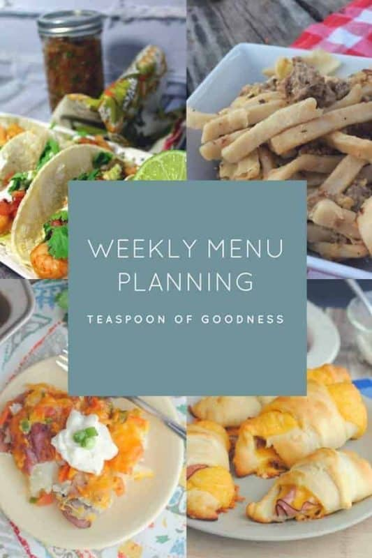 Weekly Meal Plan photo with potato skins, shrimp tacos, cabbage & sausage noodles & ham & cheese croissants