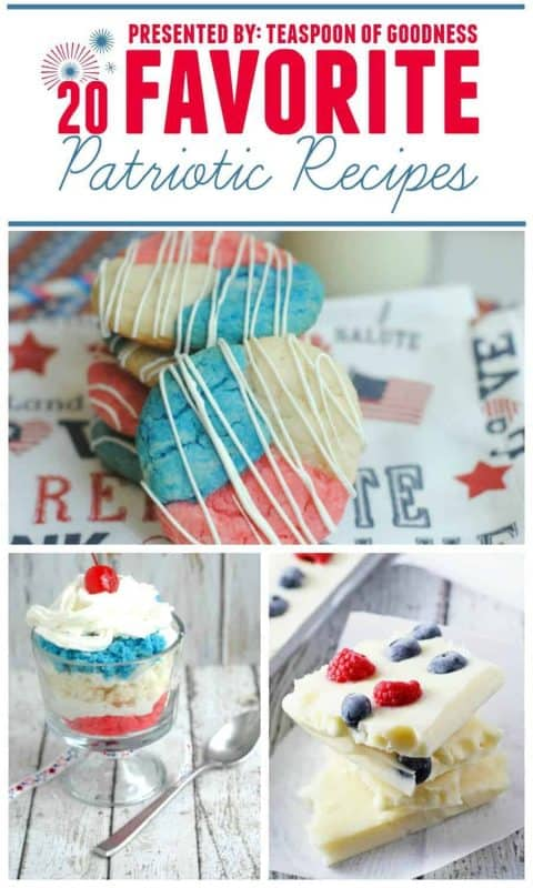 An image with 20 patriotic dessert recipes rounded up into one place that are perfect for a Memorial Day dessert.