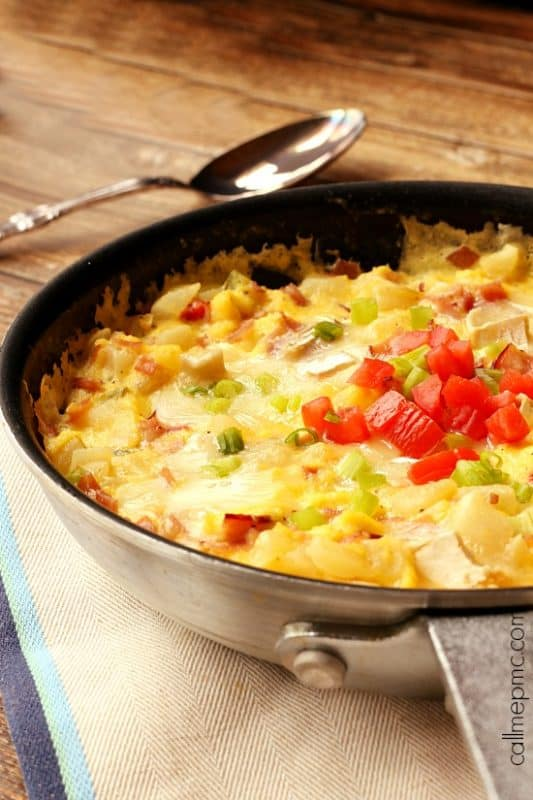 Ham Potato and Cheese Frittata in a skillet.