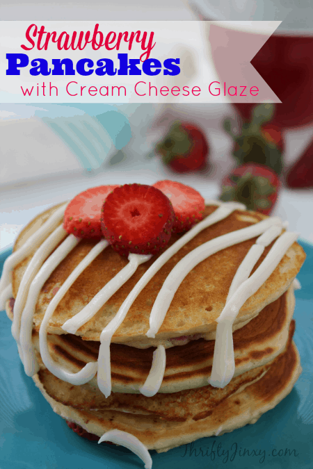 Strawberry Pancakes with-Cream Cheese Glaze Recipe on a blue plate for Mother's Day Breakfast.