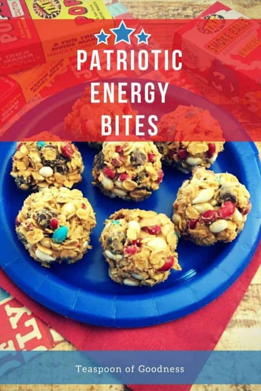4th of July Energy bites with chocolate chips, m&m's and peanut butter on a blue plate.